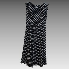 Black And White Cotton Polka Dot French Dress Vintage C.1960s