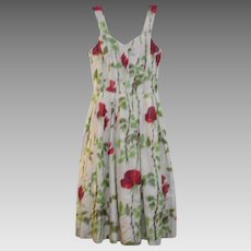 Satin Floral Cream Sleeveless Dress Vintage C.1950s