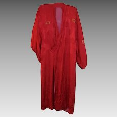 Red silk Dragon Kimono Vintage C.1980