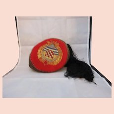 Croatian Embroidered Cap With Tassels Vintage c.1970s.