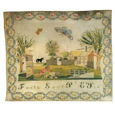 Antique Victorian French Child's Needlework Sampler c1840.