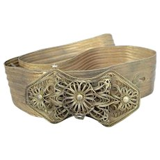 Beautiful Antique Edwardian Indian Wire Work Filigree Ladies Belt.