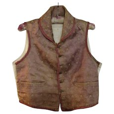 Small French Silk Waistcoat Antique Early 19th Century.