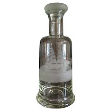 Vintage Etched Glass Decanter with Tall Ship Image.