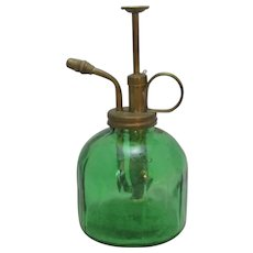 French Green Glass Atomiser Vintage 20th Century.
