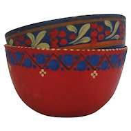 French Pair Of Papier Mache Bowls Vintage 20th Century.