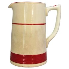 English Porcelain Red & White Jug Vintage 20th Century.
