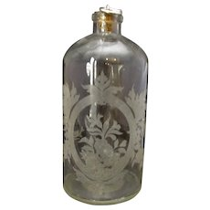Large Antique French Etched Glass Scent Bottle c1890.