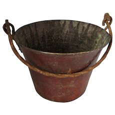 Antique Smaller Hand Beaten Copper & Wrought Iron Bucket c1900.