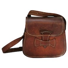 Small Vintage Ladies French Leather Side Hand Bag c1920s.