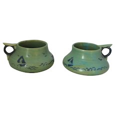 Ceramic Pair Of Green Mugs Vintage 20th Century.