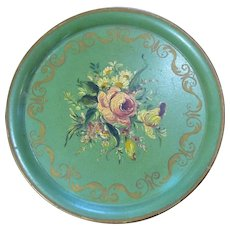 French Painted Metal Tole Tray Vintage 20th Century.
