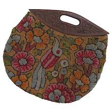 Vintage Hand Embroidered Crewel Handbag c1920s.