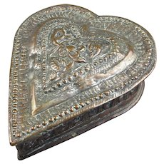 Indian Copper hand Beaten Heart Shaped Box Vintage 20th Century.
