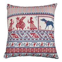 Russian Embroidered Cushion Vintage 20th Century.