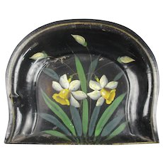 Handpainted Daffodils And Enameled Toleware Dust Pan Antique C1900.