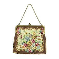 Fabric Tapestry & Metal Clasp Bag Vintage 20th Century.