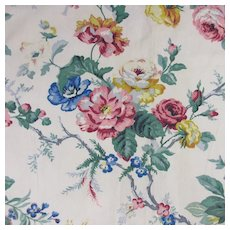 Two Panels Of Floral Pattern Fabric Vintage C1940.