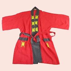 Red Silk Chinese Kimono Jacket Vintage C1980.