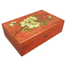 Small Antique Hand Painted Jewellery Box c1900