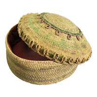 Woven Grass Sewing Basket with Lid Antique c1920