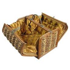 Oriental Wicker Work Sewing Case Antique c1920