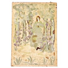 Arts & Crafts Hand Embroidered Silk Tapestry Panel Antique c1900
