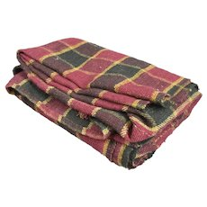 Hungarian Course Linen Woven Check Blanket Vintage 1950s