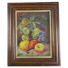 Gouache Still Life Painting of Fruit Vintage c1920