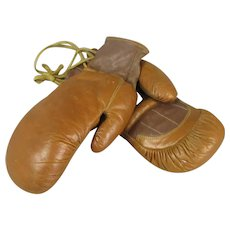 Pair French Child's Leather Boxing Gloves Vintage c1940