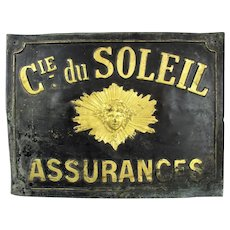 French Painted Stamped Tin Insurance Sign Antique c1900