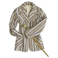 Ladies Brown Striped Blazer Jacket Vintage c1975