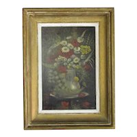 Framed Oil on Canvas Still Life Painting Antique 19th Century