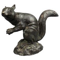 Bronze Squirrel Sculpture Victorian Style Vintage c1980
