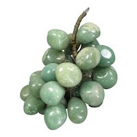 Bunch Carved Green Onyx Grapes Vintage c1950