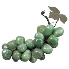 French Carved Green Onyx Bunch Grapes Vintage c1950