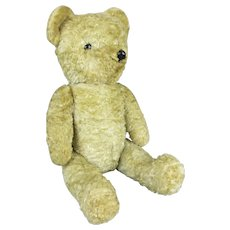 Articulated Loved Teddy Bear with Squeaker Vintage c1950