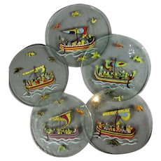 5 x Hand Painted Norman Ships Glass Coasters Vintage c1930