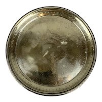 Silver Platted Round Tray On Feet Vintage c1970