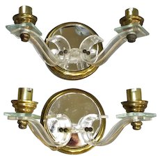 Pair French Lucite Brass & Mirror Wall Lights Vintage c1950