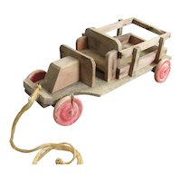 French Hand Made Pull Along Toy Car Antique c1910