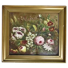 Framed Floral Painting on Glass Antique c1880