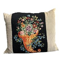 Tapestry French Cushion Vintage Mid Century c1950