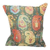Linen Paisley Print Cushion Vintage c1970