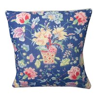Small French Floral Cushion Mid Century c1960