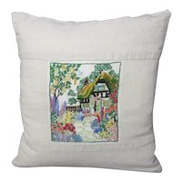 Small Embroided Cottage Garden Cushion Vintage Mid Century c1960