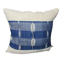 French Indigo Flamme Fabric Cushion Vintage c1970.