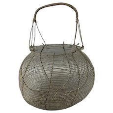 French Rustic Wire Iron Egg Basket Vintage c1950