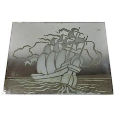 French Art Deco Mirror Panel with Ship Vintage c1930