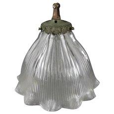 Glass Art Deco Holophane Lamp Antique c1920